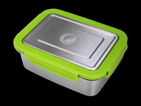 Edelstahl lunchBOX mit Verschlussrahmen in Grün ohne pocketBOX