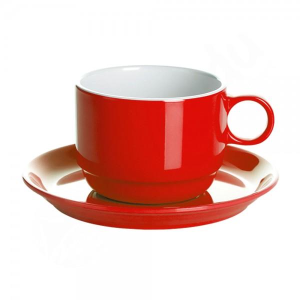 Gimex 2x Tasse+Untertasse Sierra Red Promo Line