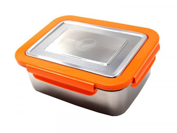 Edelstahl lunchBOX mit Verschlussrahmen in Orange ohne pocketBOX