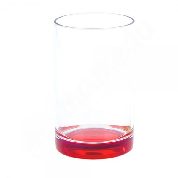 Gimex Trinkglas mit farbigem Boden - Rot - SAN