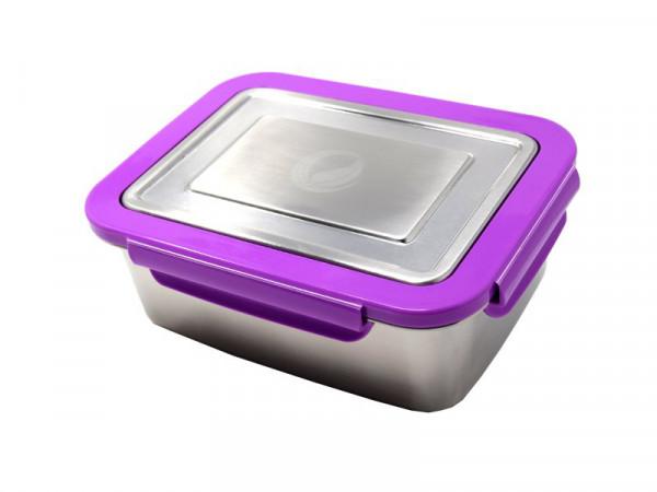 Edelstahl lunchBOX mit Verschlussrahmen in Violett ohne pocketBOX